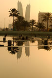 Reflection of BFH. This picture was taken under the Pearl Monument overlooking Manama during early morning sunrise. Pearl Monument is located at Pearl Monument Stock Image