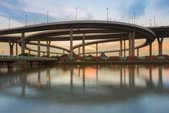 Reflection of Bhumibol highway interchanged Royalty Free Stock Image