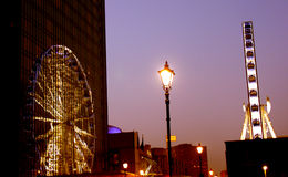Reflection of Birmingham's Eye. The Birmingham eye reflected on the Hyatt hotel stock photo