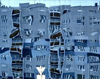 Reflection of block of flats. In Duna Plaza's glass facade in Budapest, Hungary stock photography