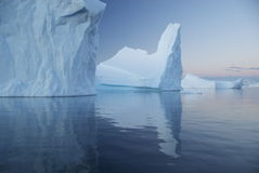Reflection of blue icebergs Royalty Free Stock Photo