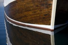 Reflection of a boat in the water Stock Photo