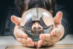 Reflection of a boy in a glass bowl. Abstract portrait Royalty Free Stock Image