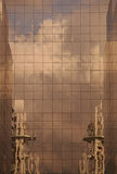 Reflection from a building. Reflection of industrial plant from a building stock image