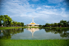 Reflection of building in the park. Suan luang Rama 9 Bangkok. Royalty Free Stock Photo