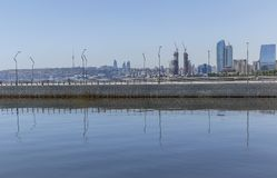 Reflection of buildings in the Caspian Sea in Baku. Nature stock images