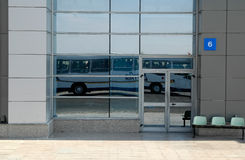 Reflection of bus for transportation of passengers Stock Image