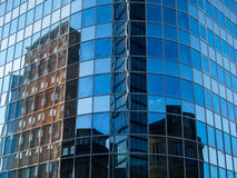 Reflection of business buildings  in a glass facade in Frankfurt Royalty Free Stock Photo