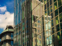 Reflection of business buildings in glass facades, Frankfurt, Ge Royalty Free Stock Photo