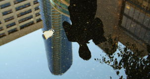 Reflection of a businessman in the puddle using digital tablet stock video