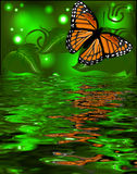 Reflection of a butterfly in the water on glowing back Royalty Free Stock Photos