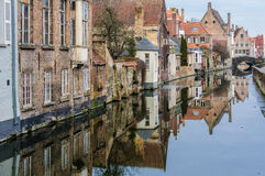 Reflection in the canal in Bruges, Belgium Royalty Free Stock Image
