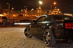 Reflection car in a night. Reflection car in a Moskow night royalty free stock image