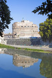 Reflection of Castel Sant'Angelo from left side of river Tiber, Royalty Free Stock Photo