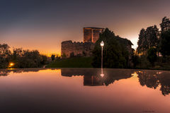 Reflection castle. A old castle was reflecting in the roof of my car royalty free stock photos