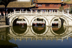 Reflection of Chinese bridge Stock Photo