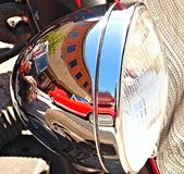 Reflection in a chrome headlight. royalty free stock images