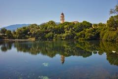 Reflection of church in karavomilos lake, Kefalonia, Ionian islands, Greece Stock Photo