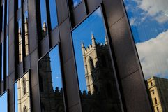 Reflection church notre dame. Old Montreal stock photos
