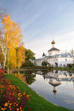 Reflection of the church in the pond. Autumn. Monastery. Reflection in the pond royalty free stock photos