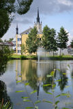 Reflection of a church in the pond Royalty Free Stock Photo