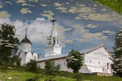 A reflection of a church. In the Spaso-Prilutsky monastery. Stock Photo