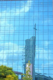 Reflection of church tower Stock Photography