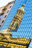 Reflection of the church tower - Plaza de Armas, Santiago de Chile, Chile Royalty Free Stock Photography