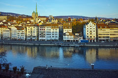 Reflection of City of Zurich in Limmat River Stock Photography