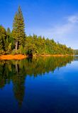 Reflection in clear blue lake Royalty Free Stock Photos