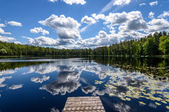 Reflection of clouds in the lake with boardwalk Royalty Free Stock Image