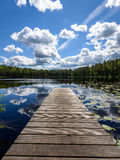 Reflection of clouds in the lake with boardwalk Royalty Free Stock Photos
