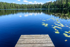 Reflection of clouds in the lake with boardwalk Royalty Free Stock Photo