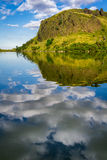 Reflection of clouds in a mountain lake Royalty Free Stock Photography