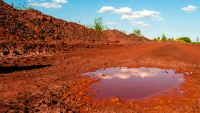Dry red soil with puddle in Kryvyi Rih, Ukraine. Reflection of the clouds in small puddle on dry red soil in Kryvyi Rih, Ukraine Stock Photos