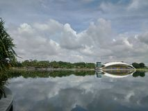 Reflection of cloudy day. Cloudy day reflection at Putrajaya Stock Photos