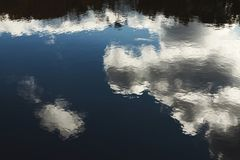 Reflection of cloudy slky in lake water. Clouds and sky reflecting in rippling lake water surface, abstract nature background stock images