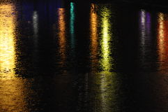 Reflection of Colored lights on water Royalty Free Stock Photos