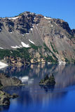 Reflection of colorful cliffs above crater lake Royalty Free Stock Photo