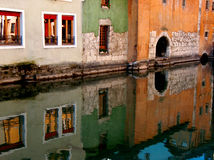 Reflection. Colorful houses reflected in the water royalty free stock photography