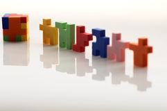 Reflection of colorful rubber blocks. Stock Photo