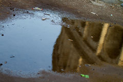 Reflection of the Colosseum in the puddle Royalty Free Stock Image
