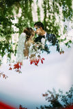 Reflection of the couple in the sunny day. A Stock Image