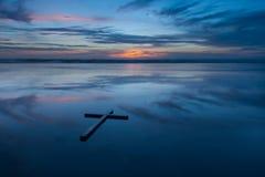Reflection Cross Beach Stock Image