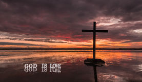 Reflection Cross God Is Love Royalty Free Stock Photography