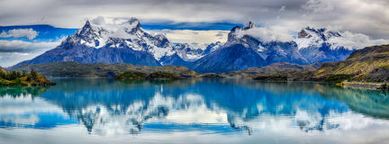Reflection of Cuernos del Paine at Lake Pehoe - Torres del Paine N.P. Chile. Reflection of Cuernos del Paine at Lake Pehoe - Torres del Paine N.P. Patagonia royalty free stock photography