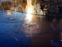 Reflection of downtown Cleveland, Ohio in water fountain Royalty Free Stock Photos