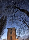 Reflection of dry wood and the old tower in a puddle on the pavement like a starry sky royalty free stock photography