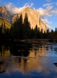 Reflection of El Capitan in Yosemite National Park royalty free stock photography