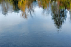 Reflection of fall leaves on rippling water. Blurred reflection of fall foliage and sky on rippling water royalty free stock photos